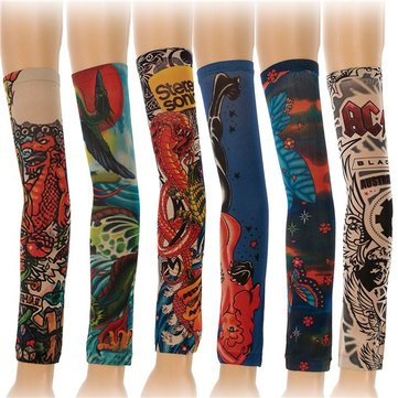 6pcs Styles Mix Temporary Tattoo Sleeves Stretchy Party Arm Stockings E