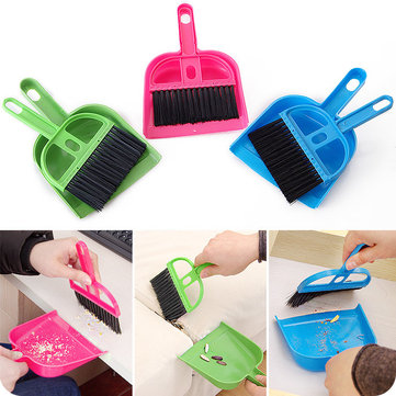Mini Portable Plastic Dustpan Computer Keyboard Handle Brush Set Soft Cleaning Sweeper Hand Kitchen Dust Pan