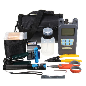 12Pcs Fiber Optic FTTH Power Meter FC-6S Fiber Cleaver Tool Kit Set With Bag