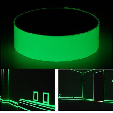 25mm×3mالشريطفوتولومينيسسينتيتوهج في الظلام الخروج السلامة علامة الأخضر الساطع