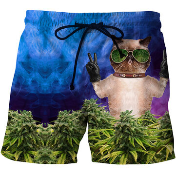 Mens 3D Glasses Cat Printing Summer Casual Beach Board Short