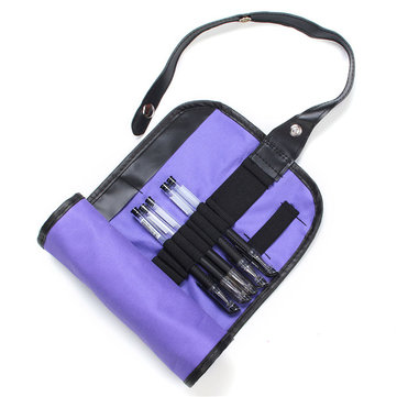 36 Holes Purple Canvas Pencil Storage Bag Pen Pouch Cosmetic Roll Up Case Holder
