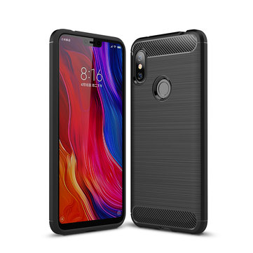 Bakeey Carbon Fiber Shockproof Soft Silicone Back Protective Case For Xiaomi Redmi Note 6 Pro