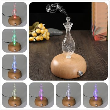 Nebulizing Pure Essential Oil Fragrance Humidifier Air Aroma Wood Glass Diffuser Colorful Light