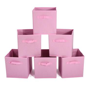 6PCS Foldable Storage Cube Beige/Pink/Light Grey Store Books Clothes Storage Bag Toys Snacks