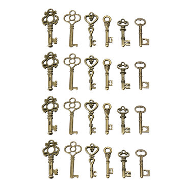 24 Antique Old Vintage Look Skeleton Keys Lot Bronze Tone Pendants Jewelry Mix Set