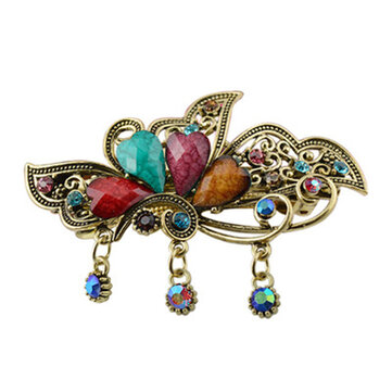 Trendy Multicolor Rhinestone Flower Butterfly Spring Hairpin