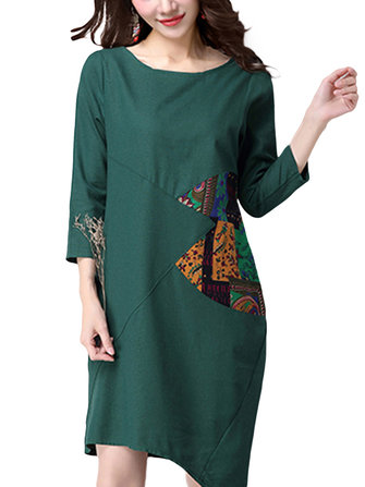 Folk Style Elegant Women Printed Patchwork Irregular Cotton Linen Dress