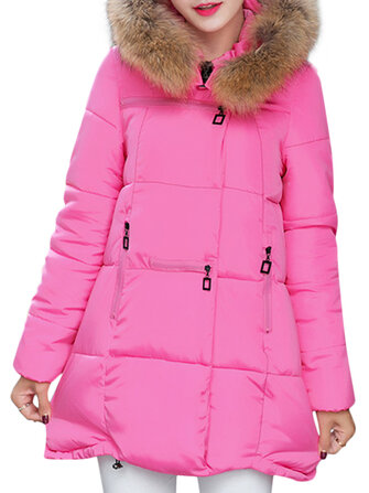 Casual Pure Color Faux Fur Hooded Women Down Coats