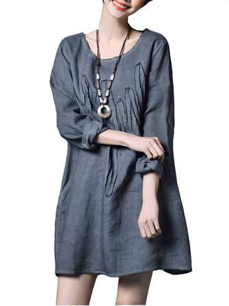 Vintage Women Simple Long Sleeve O-Neck Loose Cotton Dress
