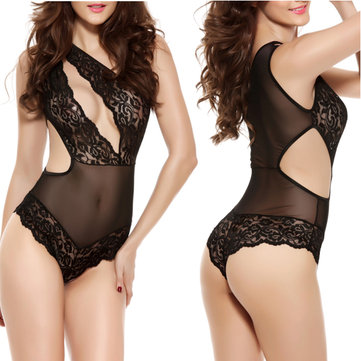 Sexy Women Lace Perspective Mesh Sleepwear One Shoulder Hollow Conjoined Sexy Lingerie