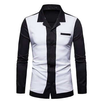 Men Color Block Turn-down Collar Long Sleeve Shirts