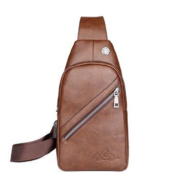Men PU Leather USB Charging Port Crossbody Bag Retro Casual Travel Chest Bag Shoulder Bag