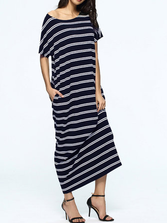 Casual Women Striped Short Sleeve Maxi Dress With Pocket