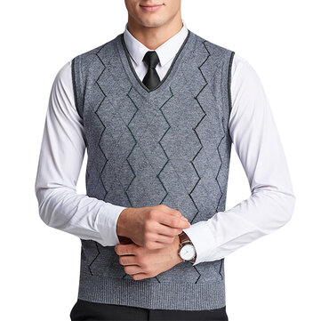 Fashion Striped Woolen Pullover Vests Casual Business Men's V-neck Sleeveless Sweaters Vest