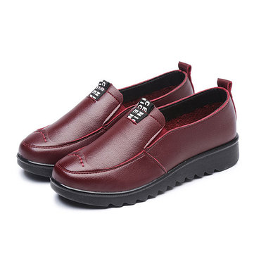 Women Flat Casual Breathable Shoes Leather Slip On Loafers