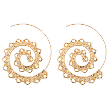 Big Circle Hoop Exaggerated Spiral Heart Drop Shape Earrings