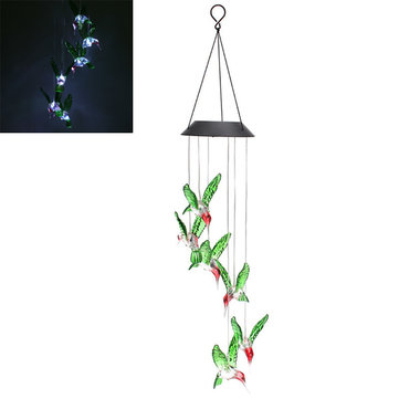 LED Solar Pendant Light Lamp Hummingbird Wind Chime Mobile Home Garden Yard Decor White Xmas