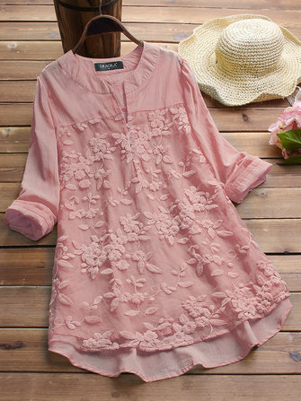 Floral Embroidery Patchwork Long Sleeve Irregular Blouse