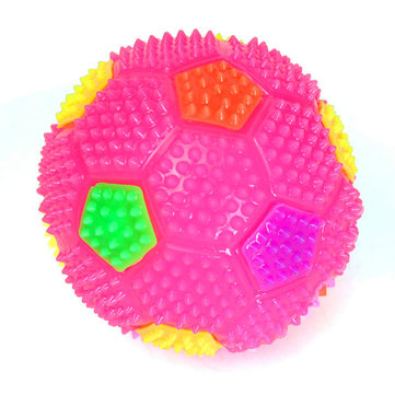 Flashing Light Up Color Changing Bouncing Hedgehog Ball Football With Bell Toy