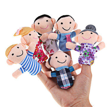 6 pcs/lot Stuffed Plush Toy Family Finger Puppets Set Boys Girls Educational Hand Toy Story
