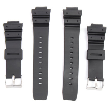 16mm Silicone Black Strap Watch Band Replacement with Pins for Casio G-Shock More Models