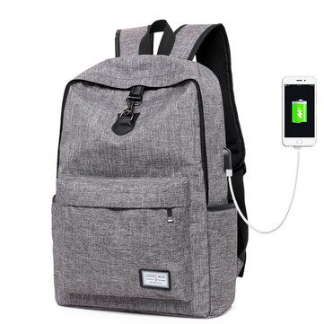 Outdoor Canvas USB Charging Laptop Backpack Travel Bag College Student Casual Rucksack for MacBook