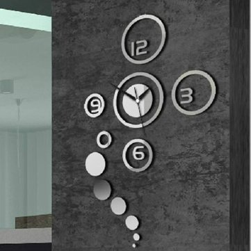 Honana DX-X1 Creative 3D Acrylic Mirror Wall Sticker Quartz Clocks Watch Large Home Decor