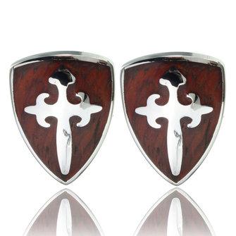 Mannen Vintage houten zwaard schild patroon zilveren manchetknopen Wedding Party Gift Shirt accessoires