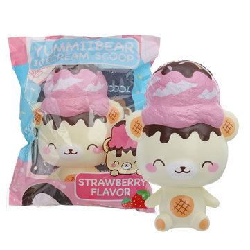 Yummiibear Squishy Ice Cream Scoop Strawberry Bear 14CM Licensed Slow Rising With Packaging
