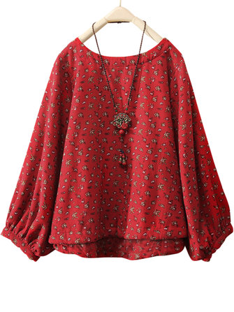 Women Cotton Loose Floral Print Round Neck Long Sleeve Blouse