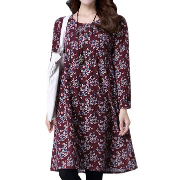 Vintage floral impresso manga comprida vestido elegante