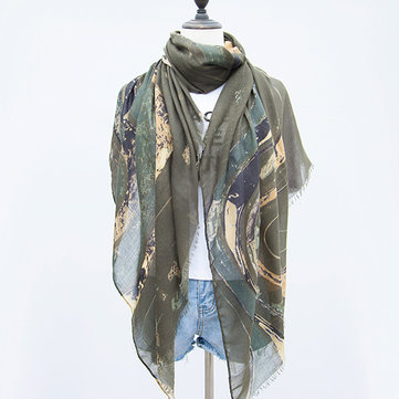 Women Satin Abstract Painting Scarves Fashion Summer Outdoor Graffiti Shawl