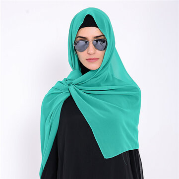 Chiffon Muslim Head Scarf Soft Islamic Underscarf Hijab Face-lift Solid Headscarf For Women