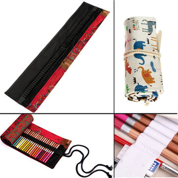 72Pcs Pencil Holes Portable Canvas Pencil Pen Roll Case Holder Bag Storage Pouch
