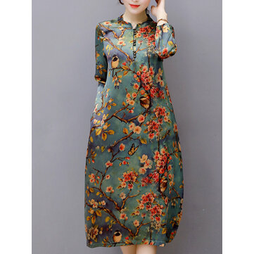 Vintage Floral Printed Long Sleeve Stand Collar Women Midi Dresses