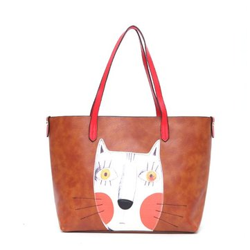 Women Cartoon Cat Printing Tote Handbags Ladies Graffiti Casual Shoulder Bags 2 Pcs