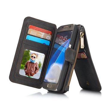 CaseMe Vintage Leather Multifunctional Detachable Zipper Wallet Case For Samsung Galaxy S7