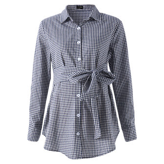 Pregnant Women Long Sleeve Tops Ladies Maternity Casual Plaid Check Blouse