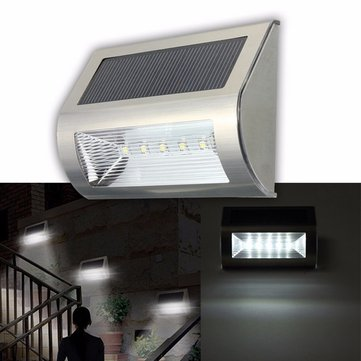 Buy Solar Power 5 LED Waterproof Wall Light Outdoor Garden Path Yard Landscape Lamp for $10.39 in Banggood store