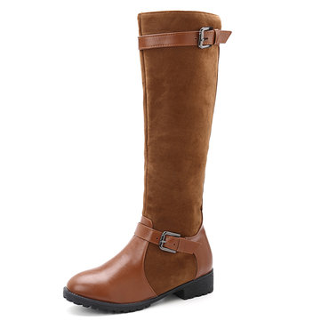 Large Size Casual Buckle Zipper Over The Knee Boots