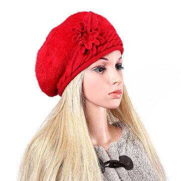 Femmes dames faux fourrure de lapin tricoté bonnet crochet beanie tricot élastique chapeau large