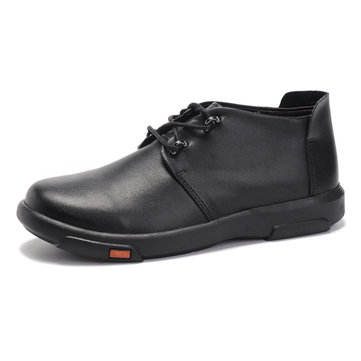 Men Genuine Leather Casual Comfortable High Top Oxfords