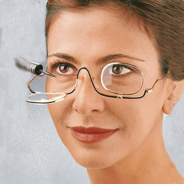 Women Adjustable Magnifying Makeup Reading Glasses Enlarged Cosmetic Eyeglasses