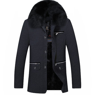 Men Fur Collar Thick Warm Winter Zipper Pockets Slim Fit Jacket