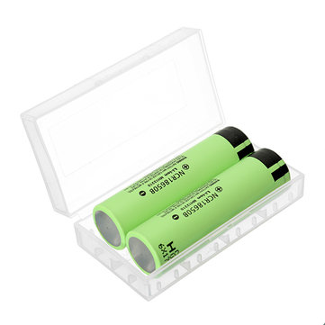 2pcs NCR18650B 3400mAH 3.7 V Unprotected Li-ion Rechargeable Battery + Case