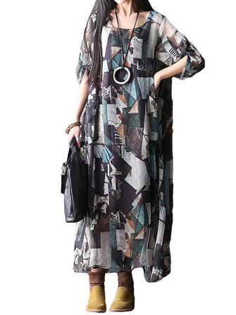 O-NEWE L-5XL Vintage Women Printed Double Layer O-Neck Maxi Dress
