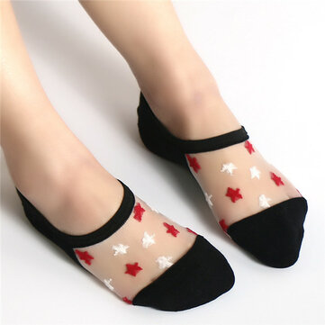 Summer Glass Crystal Silk Breathable Boat Socks For Women