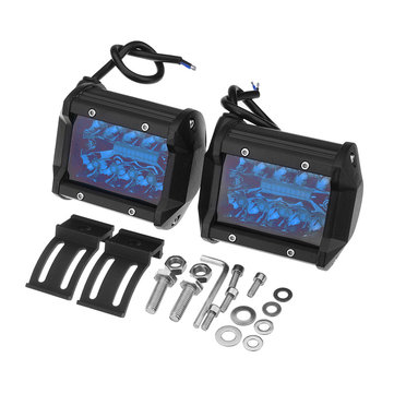 4'' Inch Tri-Row 60W 720LM 20LED Work Light Bar Flood Spot Combo Fog Lamp Blue for Offroad SUV