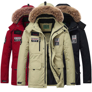 Mens Thick Winter Warm Hooded Down Jacket Fur Fashion Casual Multi Pocket Mid Long Parka